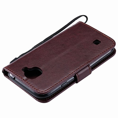 Yiizy LG K3 (2017) Custodia Cover, Alberi Disegno Design Premium PU Leather Slim Flip Wallet Cover Bumper Protective Shell Pouch with Media Kickstand Card Slots (Marrone)