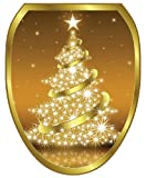 Toilet Tattoos TT-X609-O Gold Christmas Tree Decorative Applique For Toilet Lid, Elongated