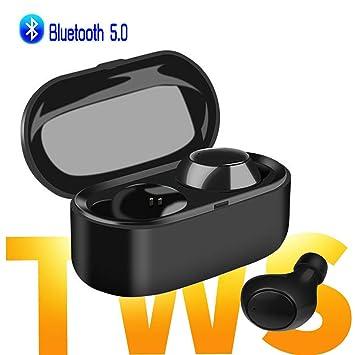 Auriculares Bluetooth Inalámbricos, Mini Cascos Bluetooth 5.0 inalámbricos In Ear Siri True Wireless Twins áuriculares con Caja de Carga, Microfono ...