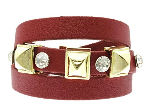6131 Crystal (Crystal Stone Stud Leather Bracelet - Red (Red))