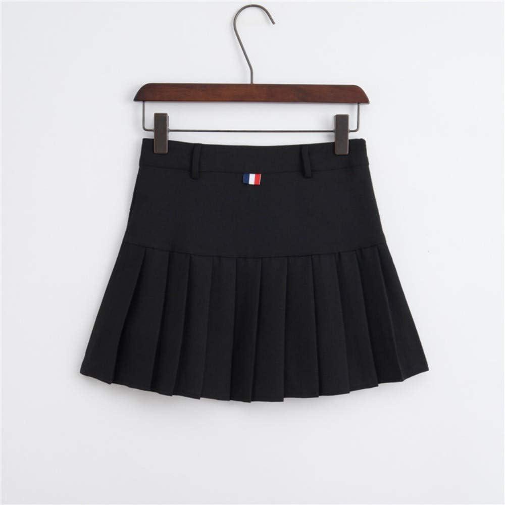 HEHEAB Falda,La Primavera Y El Verano Negro Mujeres Coreanas De Cintura Alta Falda Plisada Mini Tenis Niñas Falda Falda Falda Corta La Escuela Cuero Cosplay