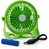 Happy-top 360 Degree Adjustable Wireless USB or 18650 Battery Powered Portable Desk Fan Mini Portable Fan Electric Personal Table Fans Stepless Wind Speed Adjustment (Green)