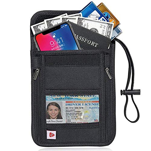 Passport Holder, Neck Wallet - RFID Blocking Hidden Security Travel Wallet Pouch for Women Men, Keep Your Money And Documents Safe - Black