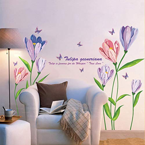 DERUN TRADINGL Wall Stickers & Murals Flowers Wall Decals Wall Decor Stickers Decorations Home Decor Accents Vinyl Removable Mural Paper for Living Room Bedroom Wall Treatments from DERUN TRADING