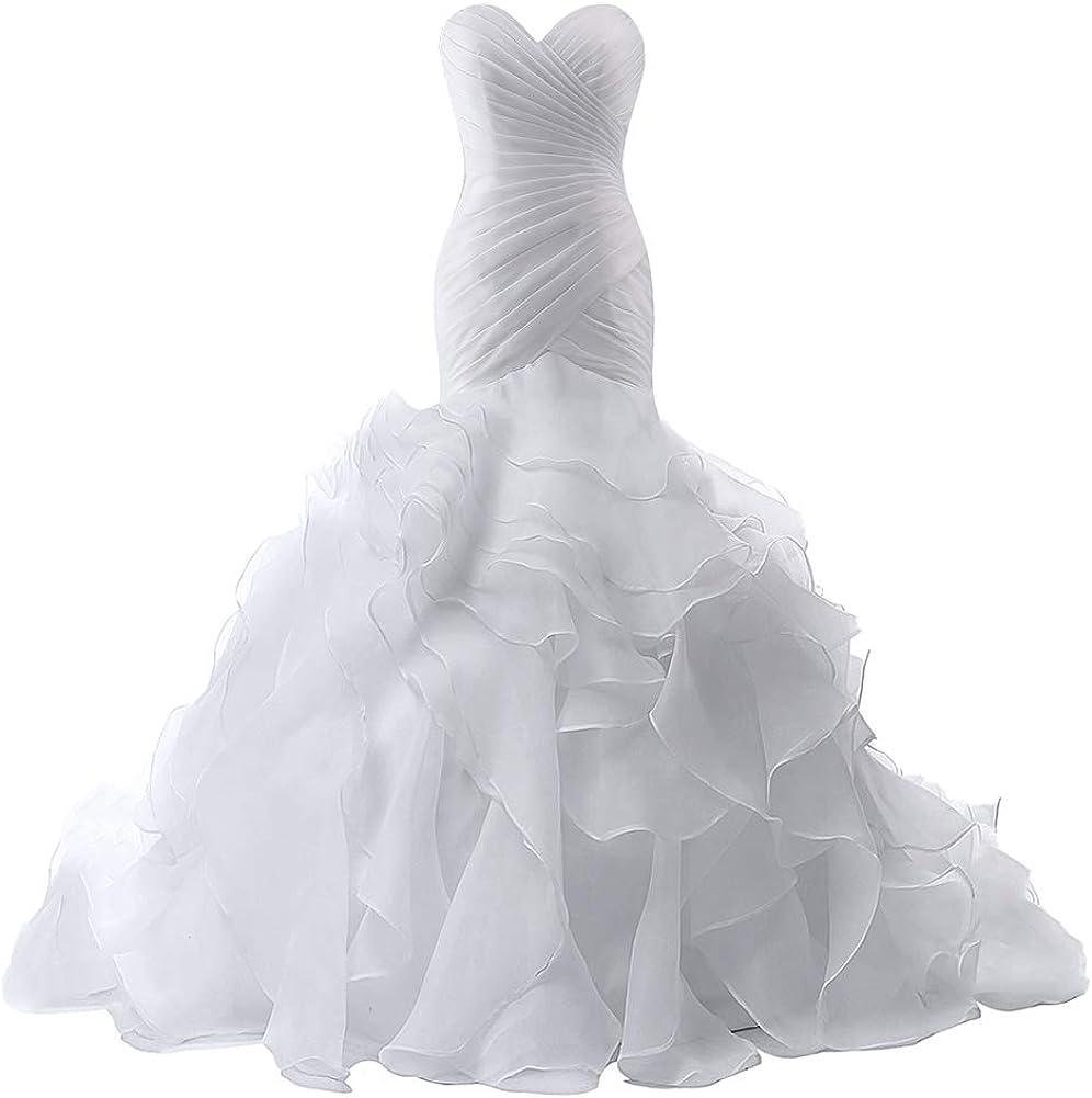 Wedding Dress Mermaid Bridal Dress Trumpet Wedding Gown for Women Ruffles