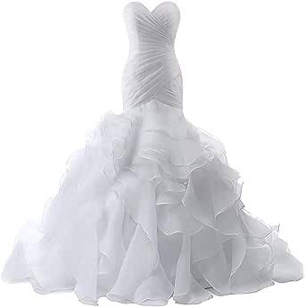 Wedding Dress Mermaid Bridal Dress Trumpet Wedding Gown for Women Ruffles Wedding Dresses