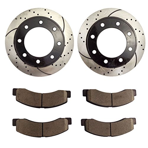 Atmansta QPD10040 Front Brake kit with Drilled/Slotted Rotors and Ceramic Brake pads for Ford Excursion F-250 Super Duty ()