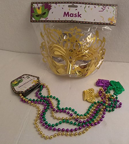 Masquerade Mardi Gras Party Mask Metallic Mardi Gras Beads Beaded Necklace Purple Gold Green Set GOLD - Homemade Scooby Doo Halloween Costumes