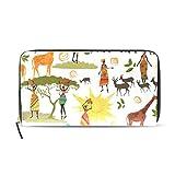 Womens Zipper Wallet Africa Art Elephant Giraffes Clutch Purse Card Holder Bag
