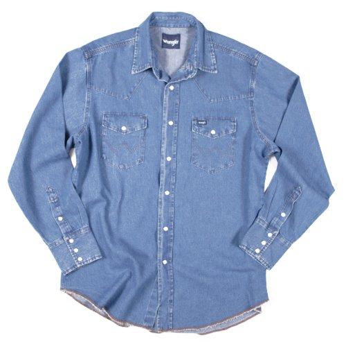 - Men's Tall Wrangler Cowboy Cut Long Sleeve Shirt Stone Wash, STONEWASH, XLT - Tall
