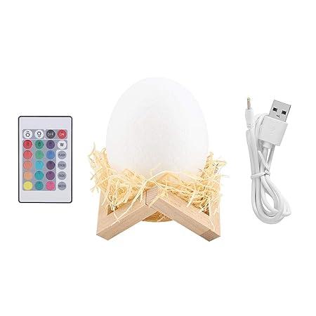 Luz de Noche de Huevo de Dinosaurio Recargable USB Impresa en 3D ...