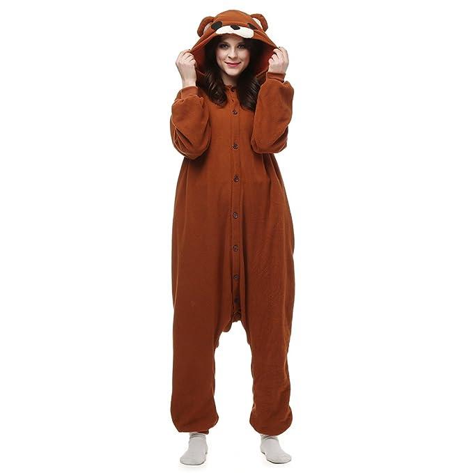 8261049ef2 Amazon.com  SHDiBa Unisex Adult Pajamas Halloween Animal Costume Cosplay  Pjs Sleepsuit Xmas Bear Pajamas Brown  Clothing