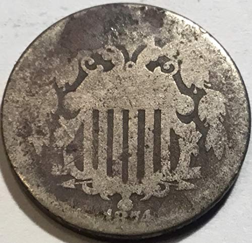 1874 Shield Five Cents Nickel About - Shield 1874