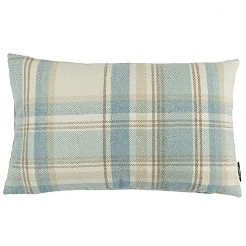 McAlister Textiles Heritage | Tartan Plaid Throw Pillow Cover in Duck Egg Blue | Lumbar 20 x 12 | Decorative Striped Woven Cushion Sham Case for Sofa and Bedroom Country Cabin Accent Decor