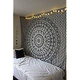 Tapestry Wall Hanging Black & White Elephant Mandala Hippie Hippy Tapestries Twin Indian Throw Beach College Dorm Bohemian Boho Bedsheet By Rajrang