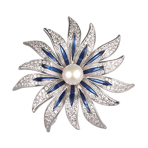 WenQian Jewelry Halloween Brooch,Christmas Brooch,AAAA 9mm More petal flowers Pearl Brooch by WenQian Jewelry®