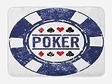 Lunarable Poker Tournament Bath Mat, Poker Chip Inspired Grunge Stamp Design Black Jack Icon, Plush Bathroom Decor Mat with Non Slip Backing, 29.5 W X 17.5 W Inches, Violet Blue Vermilion White