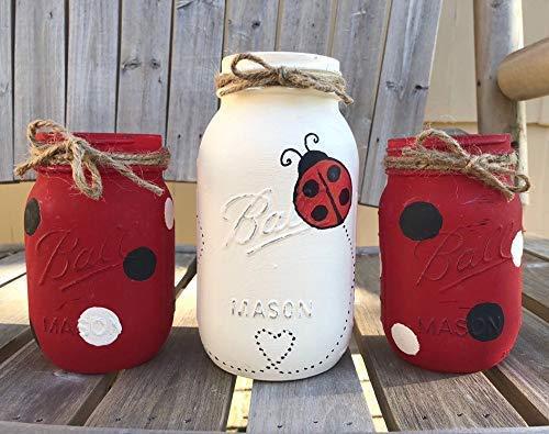 Ladybug Mason Jar Centerpiece Set/Ladybug Decor/Ladybug Mason Jars -