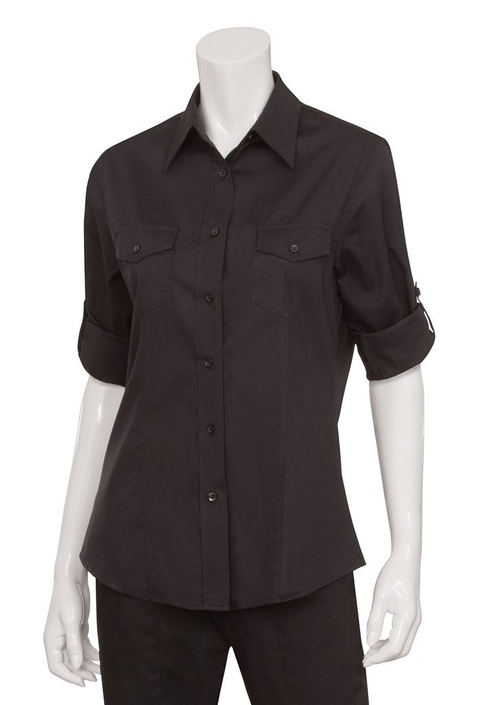 Uniform Works B213-XL Ladies Pilot Shirt, Black