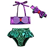YAZAD 3Pcs/Set Kids Toddler Baby Girl Mermaid Swimsuits Halter Swimwear Bikini Set With Headband (Purple+Green, 90/12-24 Months)