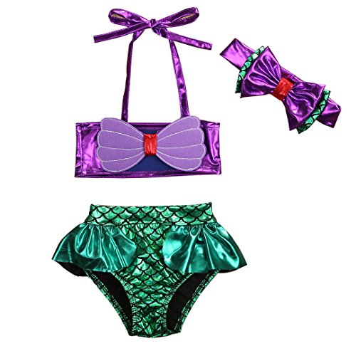 YAZAD 3Pcs/Set Kids Toddler Baby Girl Mermaid Swimsuits Halter Swimwear Bikini Set With Headband (Purple+Green, 100/2-3 Years) (Piece Headband 2)