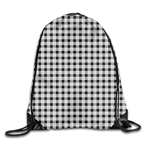 SDtaiantaishans Black and White Fox Gingham Fabric (2066) Men & Women Fashion Backpacks Shoulder Bag Laptop Backpack,Sport Gym Sackpack Drawstring Backpack Bag ()