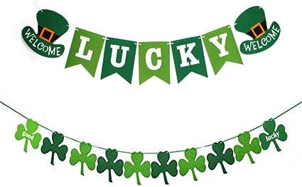 Palksky St Lucky St Patricks Day Felt Banner Garland,Shamrock Irish Party//Home//Wedding Supplies Patricks Day Decorations