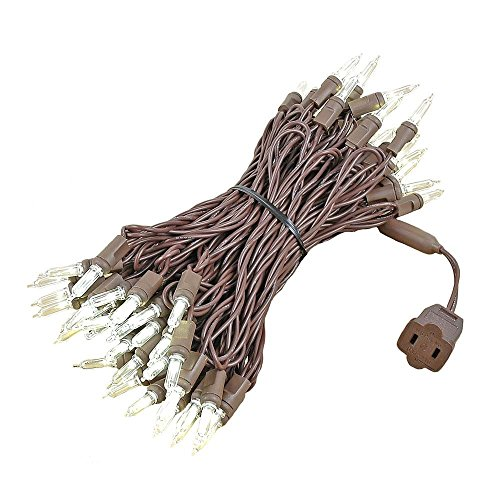 Novelty Lights 70 Light T5 LED Christmas Mini Light Set, Outdoor Lighting Party Patio String Lights, Brown Wire, 35 - 35' Set Christmas Wire