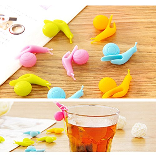 VANKER 5Pcs Random Color Silicone Snail Shape Design Tea Bag Holder Gift Set Cup Mug by Vanker (Image #6)