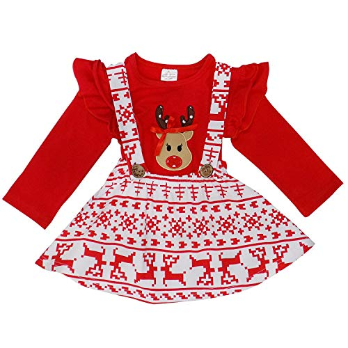 So Sydney Suspender Skirt 2 Piece Outfit, Girls Toddler Fall Winter Christmas Holiday Dress Up Boutique Outfit (S (3T), Reindeer -