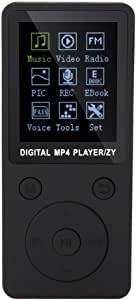 MP4 Music Player, Supports Music, Radio, Recording, Video, e-Book, Built-in Stopwatch, Supports 32GB TF Card with Headphones Long Standby time Display(Black)