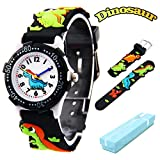 Kid's Watch, Vinmori 3D Cartoon Dinosaur Waterproof Quartz Watch Gift for Children(Black)