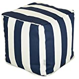 "Product review for Majestic Home Goods Stripes Indoor / Outdoor Bean Bag Ottoman Pouf Cube, 17"" x 17"" x 17"" (Navy Blue)"