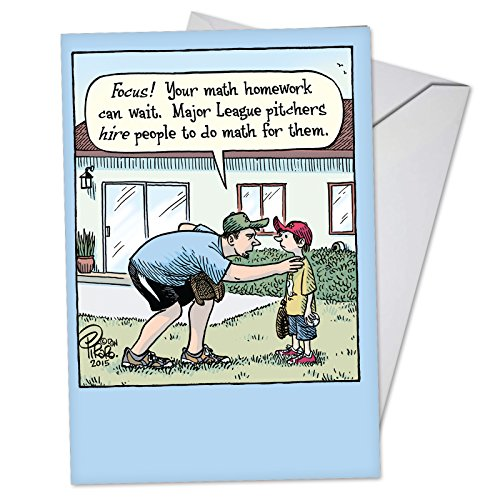 Major League Pitchers - Funny Baseball Father's Day Card with Envelope (4.63 x 6.75 Inch) - Ball Coach, Happy Fathers Day Note Card from Son, Boys - Cartoon Dad's Day Greeting Notecard C3553FDG