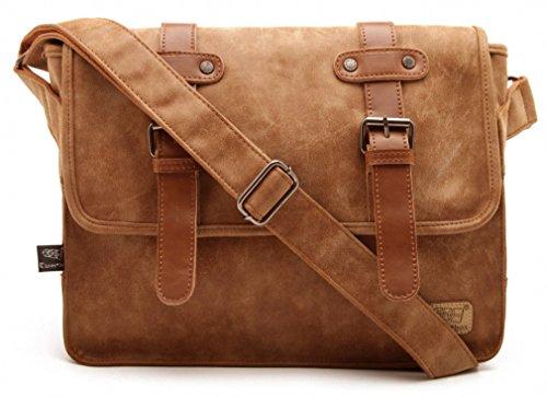 Zebella Mens Brown Crossbody Messenger Shoulder Bag Laptop Briefcase (Light Brown Leather Bag)
