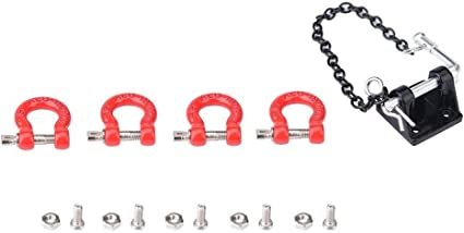 1//10 Front Rear Bumper Rescue Trailer Hook /&Tow Chain Fits for  TRX4