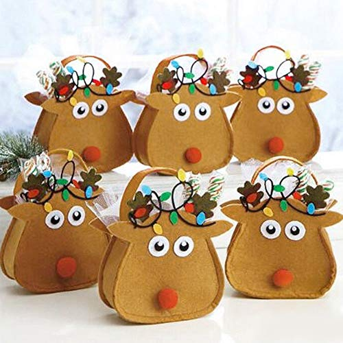Powerfulline Exquisite Lovely Christmas Elk Children Gift Candy Apple Cloth Bag Xmas Party ()