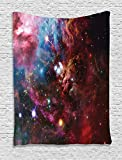 Ambesonne Space Decorations Collection, Space Nebula with Star Cluster in the Cosmos Universe Galaxy Solar Celestial Zone, Bedroom Living Room Dorm Wall Hanging Tapestry, Teal Red Pink