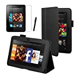 """Black Executive Multi Function Standby Case for the Kindle Fire HD 7"""" Tablet (Previous Generation Tablet) 16GB or 32GB with Built-in Magnet for Sleep / Wake Feature and Stylus Loop Holder + Screen Protector + Capacitive Stylus Penby MOFRED�"""