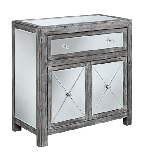 Convenience Concepts Gold Coast Collection Vineyard Mirrored Cabinet, Weathered Gray/Mirror by Convenience Concepts