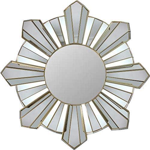 Northlight 25 Sunburst Wave Matte Gold Round Wall Mirror