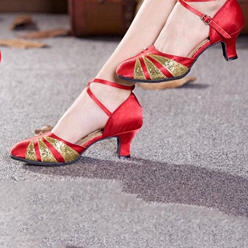 couleur Cn35 Eu36 Danse 4 Chaussures Yixinyi 5 Latine Court Modernes Adulte International Shoe De Uk3 Taille 3 Square Femmes Talons Ballroom Dancing xCRxFS6