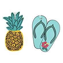 Travelon Set of 2 Novelty Luggage Tags,Pineapple/Flip Flop