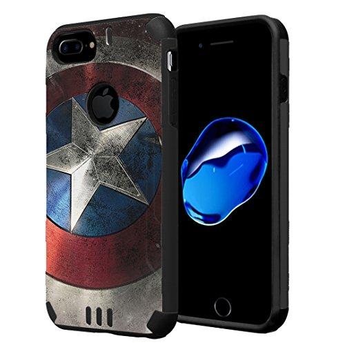iPhone 7 Plus Case, Capsule-Case Hybrid Dual Layer Silm Defender Armor Combat Case (Black) Brush Texture Finishing for iPhone 7 Plus/iPhone 6S Plus/iPhone 6 Plus - (Rock Star) ()