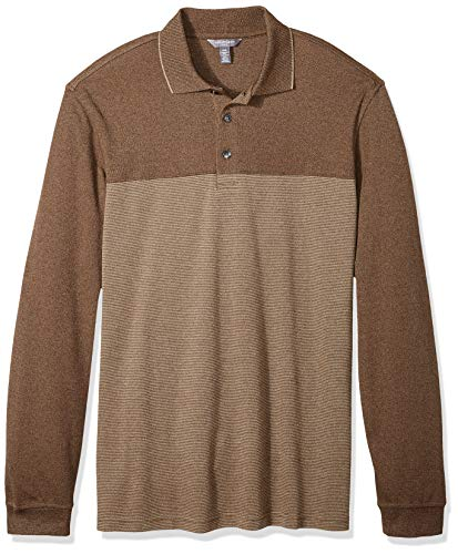 - Van Heusen Men's Big and Tall Long Sleeve Jaspe Polo, brown cocoa, X-Large Tall