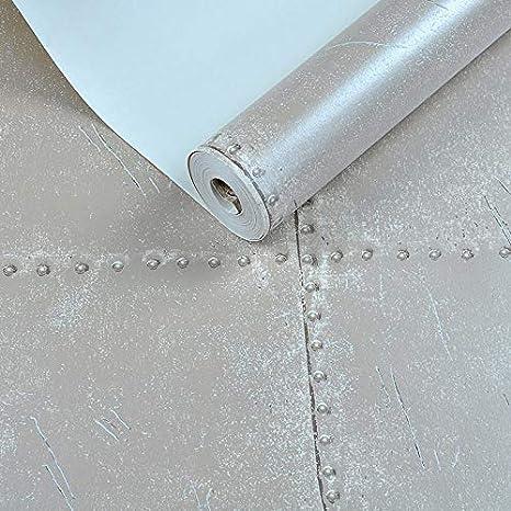 solo fondo de pantalla Retro reminiscencia impermeable industria de hierro de imitaci/ón de papel tapiz de viento caf/é bar tienda de ropa gris parrilla de papel tapiz 5163-1 gris plata