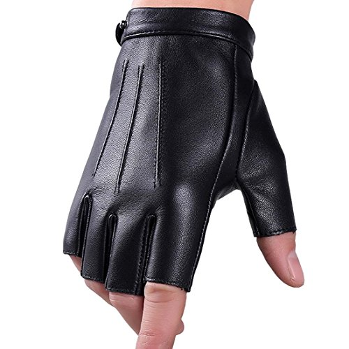 KWLET Men's Half Finger PU Leather Gloves Fingerless Driving Motorcycle Fitness Cycling Outdoor Gloves M by KWLET