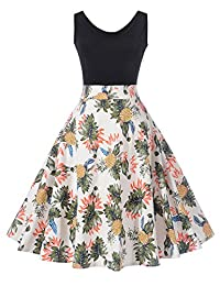 Womens Vintage Hepburn Floral Print Seeveless Evening Party Cocktail Dress