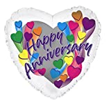 Creative Converting CTI Mylar Balloons, Anniversary Hearts, 17'', Multicolored pack of 5