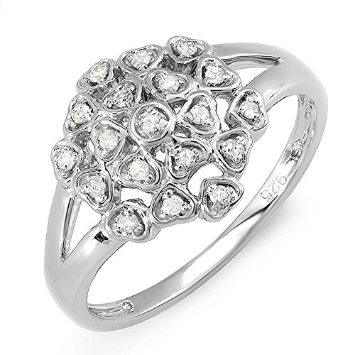 Dazzlingrock Collection 0.20 Carat ctw Ladies Round Diamond Cocktail Right Hand Ring 1 5 CT, Sterling Silver